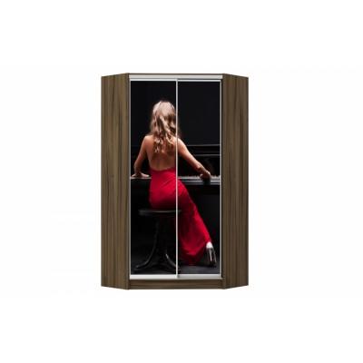 Шкаф-купе угловой Зеркало фотопечать