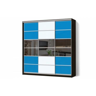 Шкаф-купе Комбинированный фасад Цветные стекла/Зеркало трехдверный Классик