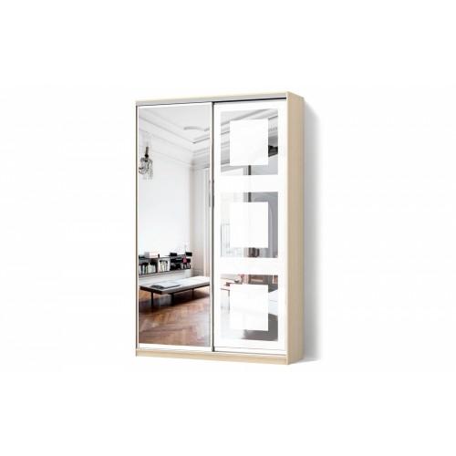 Шкаф-купе Зеркало/Зеркало пескоструй двухдверный Стандарт