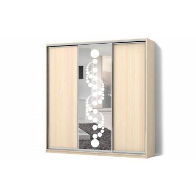Шкаф-купе Зеркало с рисунком пескоструй на 1 двери трехдверный Стандарт