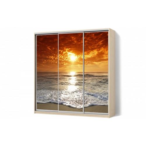 Шкаф-купе с рисунком фотопечать Море трехдверный Стандарт