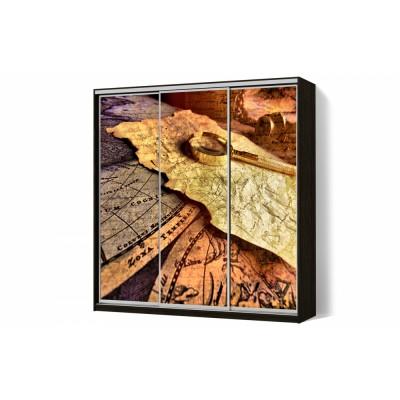 Шкаф-купе с рисунком фотопечать Путешествие трехдверный Стандарт