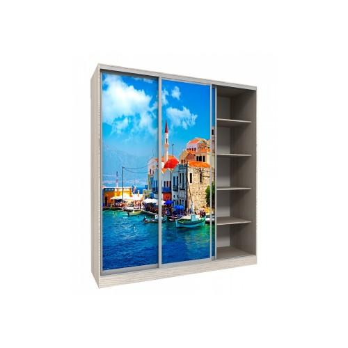 Шкаф-купе с рисунком фотопечать Венеция трехдверный Стандарт