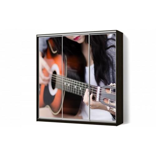 Шкаф-купе с рисунком фотопечать Гитара трехдверный Стандарт