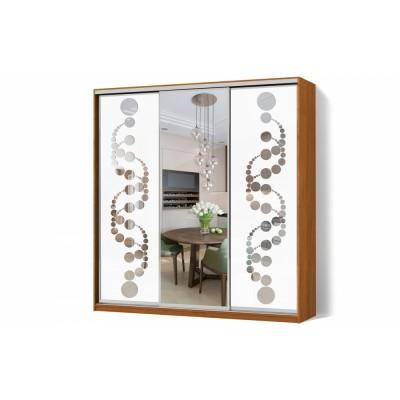 Шкаф-купе Зеркало пескоструй на 2 двери трехдверный Классик